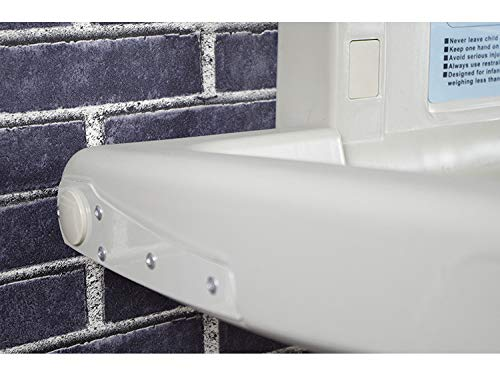 QZ® Wall Mounted Baby Changing Station for Nursery Restroom, Foldable Infant Dresser, White Granite