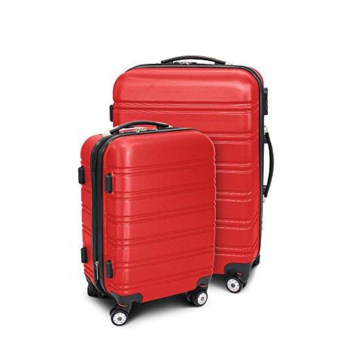 BERWIN Kofferset M + L 2-teilig Reisekoffer Trolley Hartschalenkoffer ABS Teleskopgriff Modell Line (Rot)
