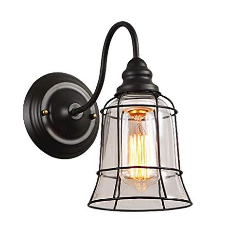 JOLLY Vintage-Stil Wandleuchte für Kopfteil Schlafzimmer Nachttisch Veranda Bad Eitelkeit, antike industrielle Wandleuchte mit Glas Lampenschirm (Color : White) -
