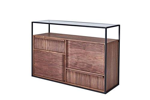Chicago Beistelltisch (CAGUSTO® Sideboard Chicago, Kommode 120 x 40 x 80 Nussbaum Echtholzfurnier, Metall schwarz und Glas, Lieferung bis Bordsteinkante. auch ALS Set mit Couchtisch, Lowboard und Beistelltisch erhältlich!)