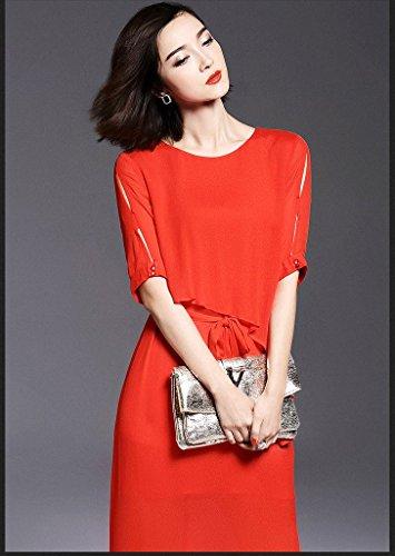 Smile YKK Einfarbig Langes Kleid Maxikleid Party Kleid Abendkleid Kurz Ärmel Rot