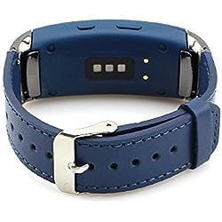 Samsung Gear Fit 2 Correa Pinhen cuero genuino pulsera de acero inoxidable elegante correa de la venda del reloj para Samsung Gear FIT2 SM-R360 (Blue)