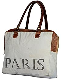 Priti High Quality PARIS Design Washed Canvas Handbag Tote Bag Travel Bag Handbag Bag Handle