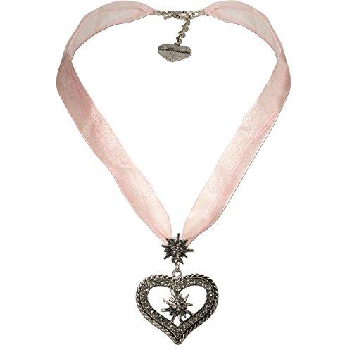 Alpenflüstern Organza-Trachtenkette Strass-Edelweiß-Herz - Damen-Trachtenschmuck mit Trachtenherz, Dirndlkette rosé-rosa DHK193