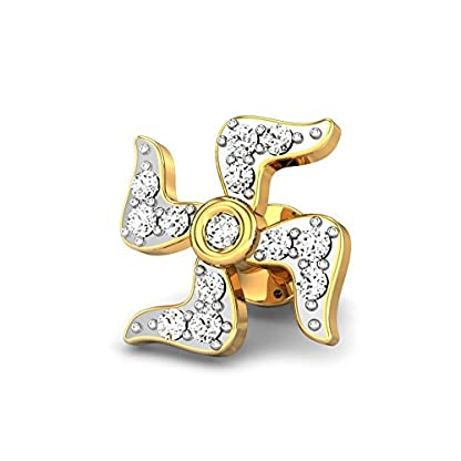 Candere By Kalyan Jewellers Swastik 14k Yellow Gold and Diamond Stud Earrings