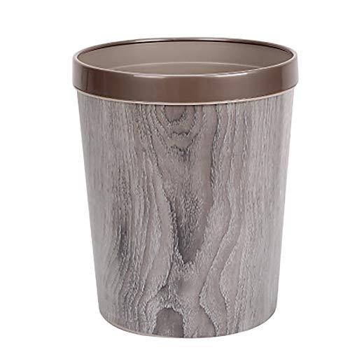 Gelentea - Papelera de 12 litros de Basura Duradera con Cubo de Basura de Grano de Madera Estilo Europeo...