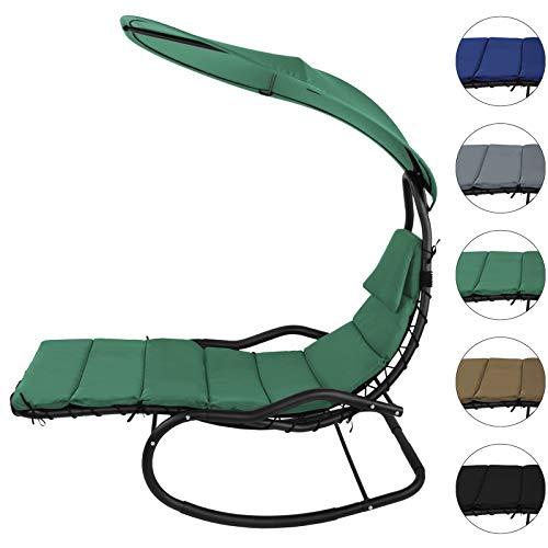 BB Sport Schaukelliege Schwingliege Schwebeliege mit Sonnendach ergonomische Liegefläche 200 x 70 cm inkl. Polsterauflage, Armauflagen und...