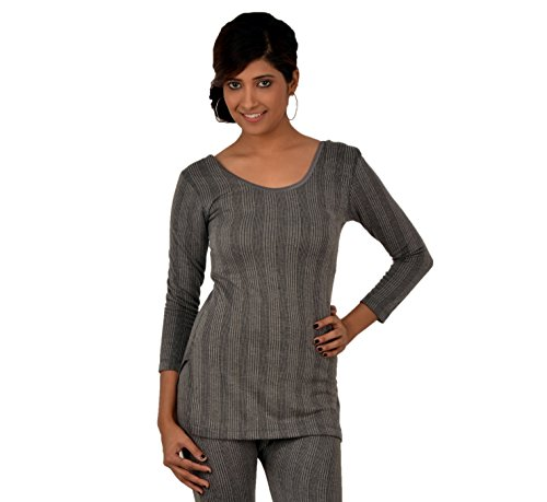 Lux Inferno Women's Cotton Thermal Top (INF_LAD_CH_LONG_3Q_RN_95_Charcoal Melange)