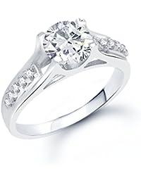 VK Jewels Glistening Rhodium plated solitare Ring - FR1060R [VKFR1060R]