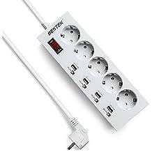 BESTEK Regleta De Enchufes Con 5 Toma Corrientes Y 4 Puertos USB(5V / 8A, SMART IC), Alargadora Cable De 1,8M Para Móviles, Tablets U Otros Dispositivos, tapón de seguridad ,4000W Blanco