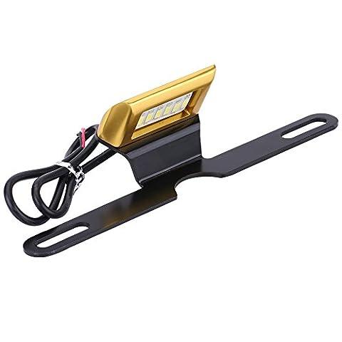 Qiilu Support de plaque d'immatriculation arrière de moto universel Lampe de suspension modulée par LED Nouveau style(Or)