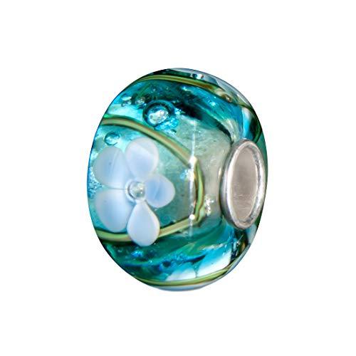Andante-Stones 925 Sterling Silber Glas Bead Charm Sealife (Türkis mit indigoblauen Blumen) Element Kugel für European Beads + Organzasäckchen