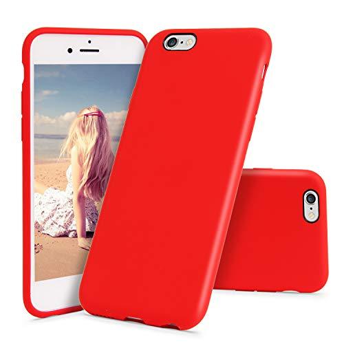 CIUTEK Hülle für iPhone 6/6S Hülle Matt Silikon Dünn HandyHülle Stoßfest Slim Gummi Schutzhülle Kratzfest Case Cover mit Soft Microfaser Tuch Futter Kissen -