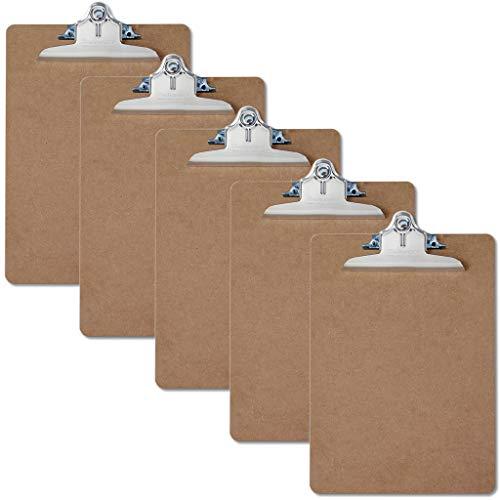 Saunders 05616 Hartfaser Klemmbrett 5er Set für DIN A4, Kladde aus Holz Faser Sparpack