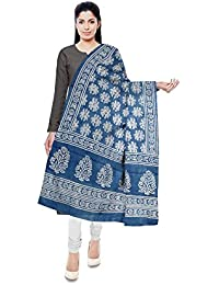 NEEL BATIK - THE BLOCK PRINTS Women's Malmal Cotton Stole (Blue)