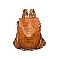 Anti-theft leather large capacity travel fitness backpack/waterproof leather crocodile pattern ladies shoulder bag student backpack