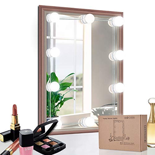 LED Vanity Hollywood Makeup Mirror Lights Kit, ULYCOOL DIY Mirror Light with Dimmable 10 LED Bulbs for Makeup Table, Not Include Mirror, White