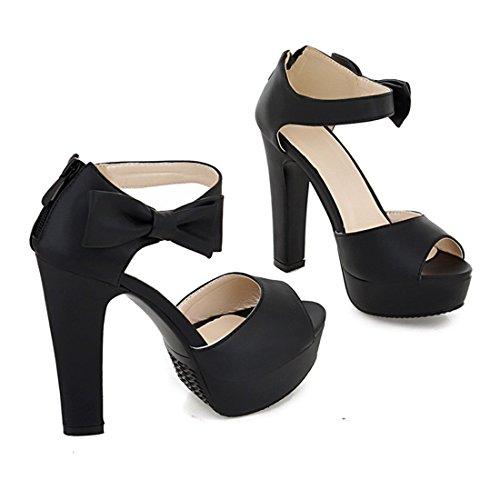 YE Damen Blockabsatz High Heels Sandalen Plateau mit Riemchen und süß Schleife Elegant Pumps 12cm Absatz Sommer Schuhe Schwarz