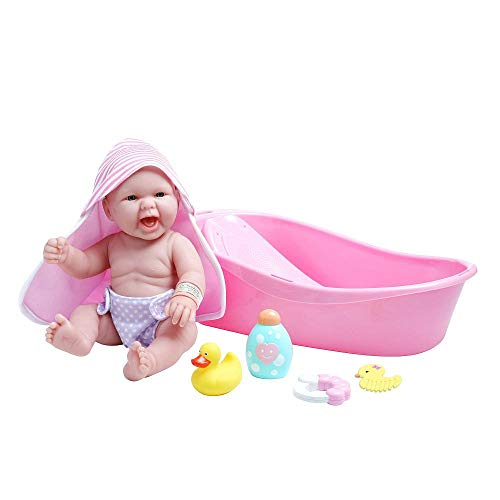 "JC Toys LA NEWBORN 8 Piece Deluxe BATHTUB GIFT SET, featuring 14"" Life-Like All Vinyl Smiling Baby Newborn Doll, Pink"