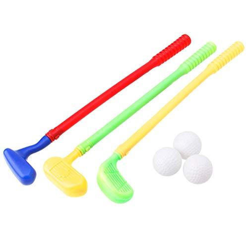Ysoom Kinder Golf Set Spielzeug, Kunststoff Tragbare Mini Golfball Rod Set Kinder Outdoor Fun Park Garten Spielzeug - Geeignet für drinnen und draußen 3 golfschlaeger, 3 bälle