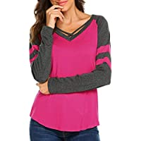 Bellelove❤ Damen Striped Stitching Top, frühling und Herbst Frauen Gestreiften Farbe Kragen Rundhals t-Shirt beiläufige lose Top Brust Cross Strap Langes Hemd