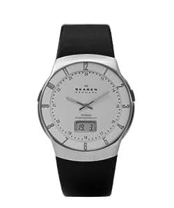 Skagen - 732XLTLW-G - Montre Homme - Quartz - Analogique et Digitale - Radio Pilotée - Bracelet Cuir Noir