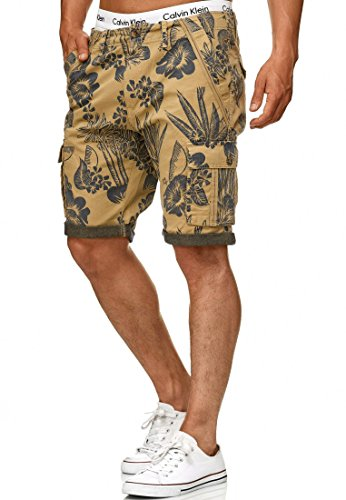 Indicode Herren Albert Hawaii Chino Cargo Shorts Bermuda Kurze Hose aus Stretch-Material Regular Fit Cornstalk L