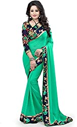 Yeoja Creation Women's Georgette Saree with Blouse Piece(DFR4_Green)