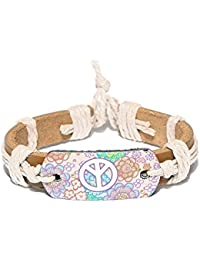 Anti Formal Multicolor Thread-Woven Brown Strap Faux Leather Charm Bracelet For Women & Men