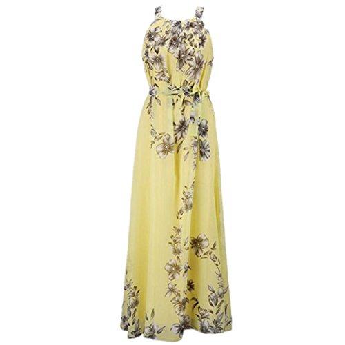 SHUNLIU Damen Elegant Chiffon Abschlussball Abendkleider Sommer Drucken Ärmellos Mode Gelb