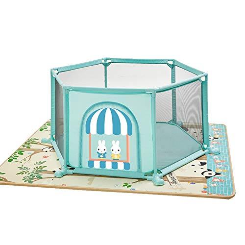 Parc de sécurité Hexagonal avec Matelas, très Grande Aire de Jeu pour bébé Anti-Renversement, barrière de Jeu pour Jeu de bébé anticollision de 67 cm de Hauteur (Couleur : Green)