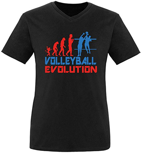 EZYshirt® Volleyball Evolution Herren V-Neck T-Shirt Schwarz/Rot/Blau