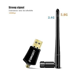 Clé Wifi USB SUMGOTT Adaptateur USB Dongle Wifi Double Bande 600Mbps (2.4G / 150Mbps + 5G / 433Mbps)  Pour Ordinateur de Bureau / Ordinateur Portable / PC