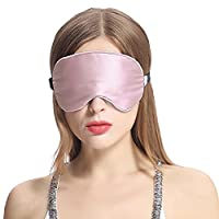 LILYSILK 100 Pure Silk Filled Eye Mask for Sleeping Natural Double Silk With Adjustable Strap Light Plum