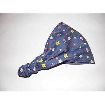 Blau buntes Kinder Haarband Bandana Blumen – handmade