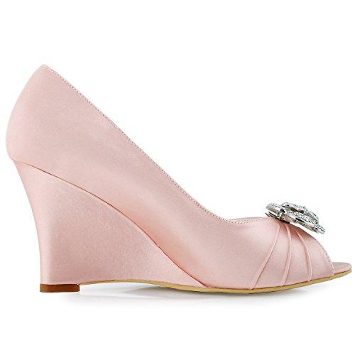 ElegantPark WP1547 Escarpins Femme Talon Compense Satin Bijou Mobile Diamant Fleur AF01 Chaussures de Soiree pink