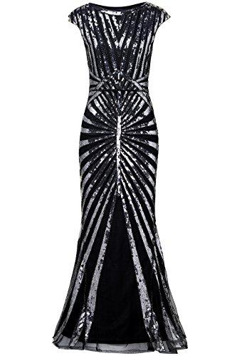 ArtiDeco 1920s Kleid Damen Maxi Lang Vintage Abendkleid Gatsby Motto Party 20er Jahre Flapper Kleid Damen Kostüm Kleid (Silber Schwarz, XS)