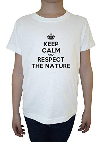keep-calm-and-respect-the-nature-weiss-baumwolle-jungen-kinder-t-shirt-rundhals-kurzarm-white-boys-k
