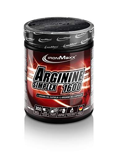 IronMaxx Arginin Simplex 1600 - Ideal für Bodybuilding - Extra hohe Konzentration von L-Arginin Aminosäuren - Muskelaufbau, Kraftaufbau und Ausdauertraining - Supplement - 300 XXL Kapseln (Tricaps)