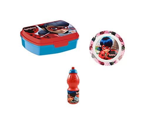 Bbs portamerenda + borraccia + piatto ladybug miraculus prodigiosa