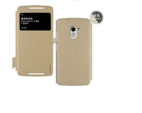 GoRogue Pudini Window PU Leather Slim Flip Case Cover with Convertible Back Stand For Lenovo K4 Note (Gold)