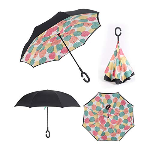 Double Layer Inside-Out Inverted Umbrella And Self Standing, Reverse  Folding Umbrella With C-shaped Hands Free Handle (color : MC-08)