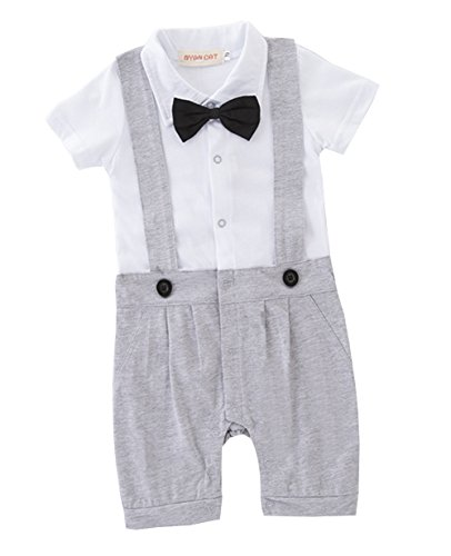 Baby Jungen Bodysuit Tuxedo Gentleman Kurzarm Strampler mit Bowknot 1pc Grau Etikette - Bodysuit Tuxedo