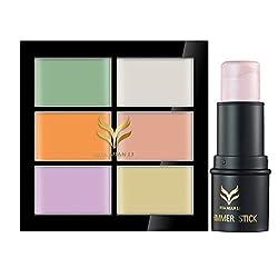 Rrimin Makeup 6 Colors Concealer Palatte + Highlighter Stick Shimmer Powder Cream (Set 1)