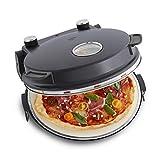 Pizzaofen Peppo 1200W | Pizzamaker | Minibackofen elektrisch für Pizza & Brot 350°C, Timer & Signallampe, inkl. Emaille-Bratpfanne & 2 großen Pizzawendern + Gratis Rezept (PDF) -