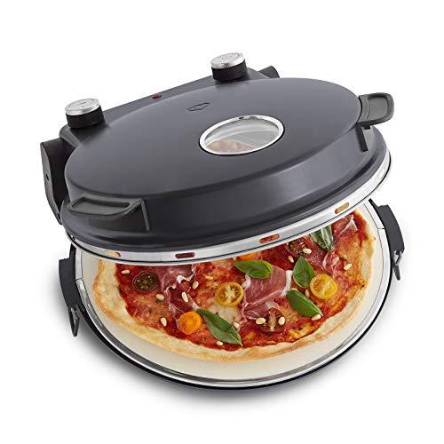 Pizzaofen Peppo 1200W | Pizzamaker | Minibackofen elektrisch für Pizza & Brot 350°C, Timer & Signallampe, inkl. Emaille-Bratpfanne & 2 großen Pizzawendern + Gratis Rezept (PDF) - anthrazit