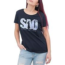Camiseta Sword Art Online SAO–by BRAIN texto Factory, negra, XS