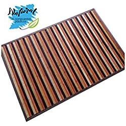 Alfombra de Bambú Natural, de Rayas, Base Antideslizante, Ideal para Salón/Cocina, de 60cm X 90cm - Hogar y Más