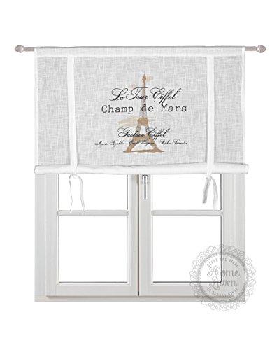 Scheibengardine Raff Gardine Raffrollo Vorhang 'Eiffel' 120 x 120 cm (BxH) weiß mit Stempel...