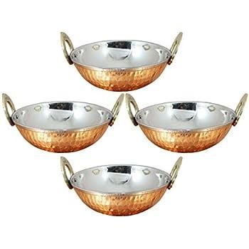 Zap Impex Indische Servierschale Kupfer Geh/ämmerter Edelstahl Karahi Indische Gerichte und Portion Curry 2er Set 19 cm